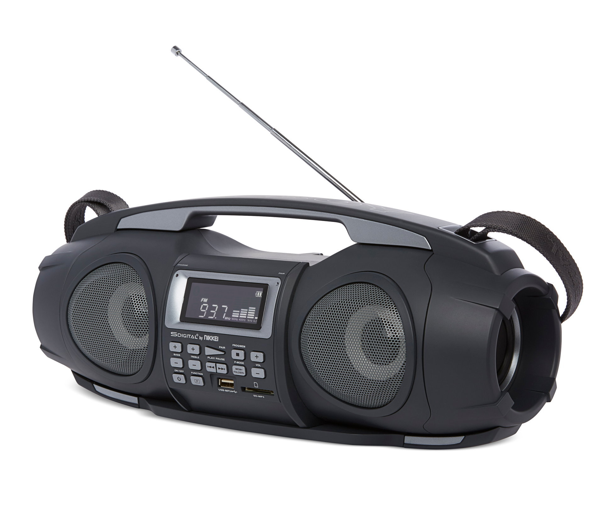 "Nikkei NGB3601BK ""Fatboy"" portable boombox with bluetooth, radio, usb, SD, Aux-in and powerbank function"