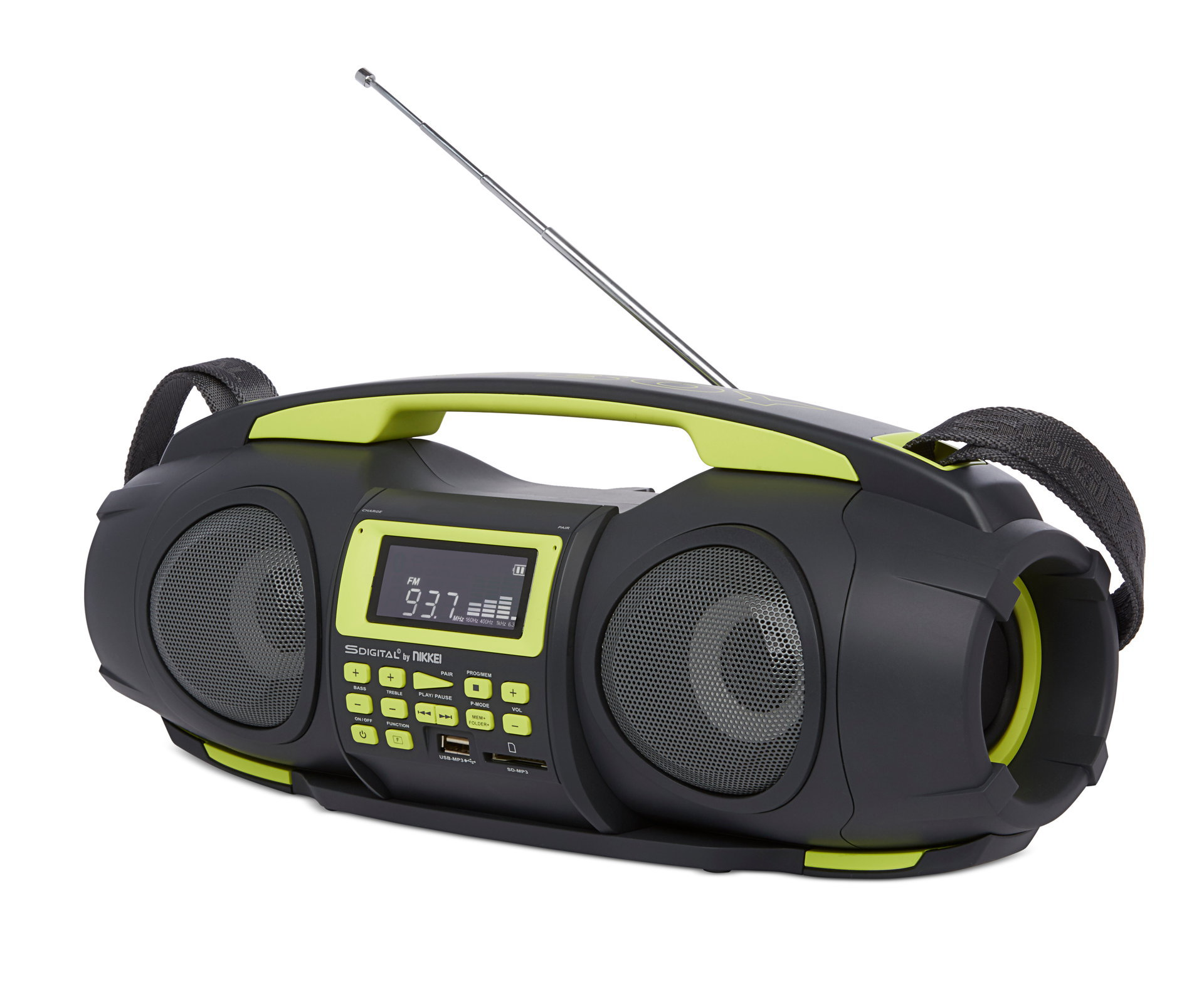 "Nikkei NGB3601GN ""Fatboy"" portable boombox with bluetooth, radio, usb, SD, Aux-in and powerbank function"