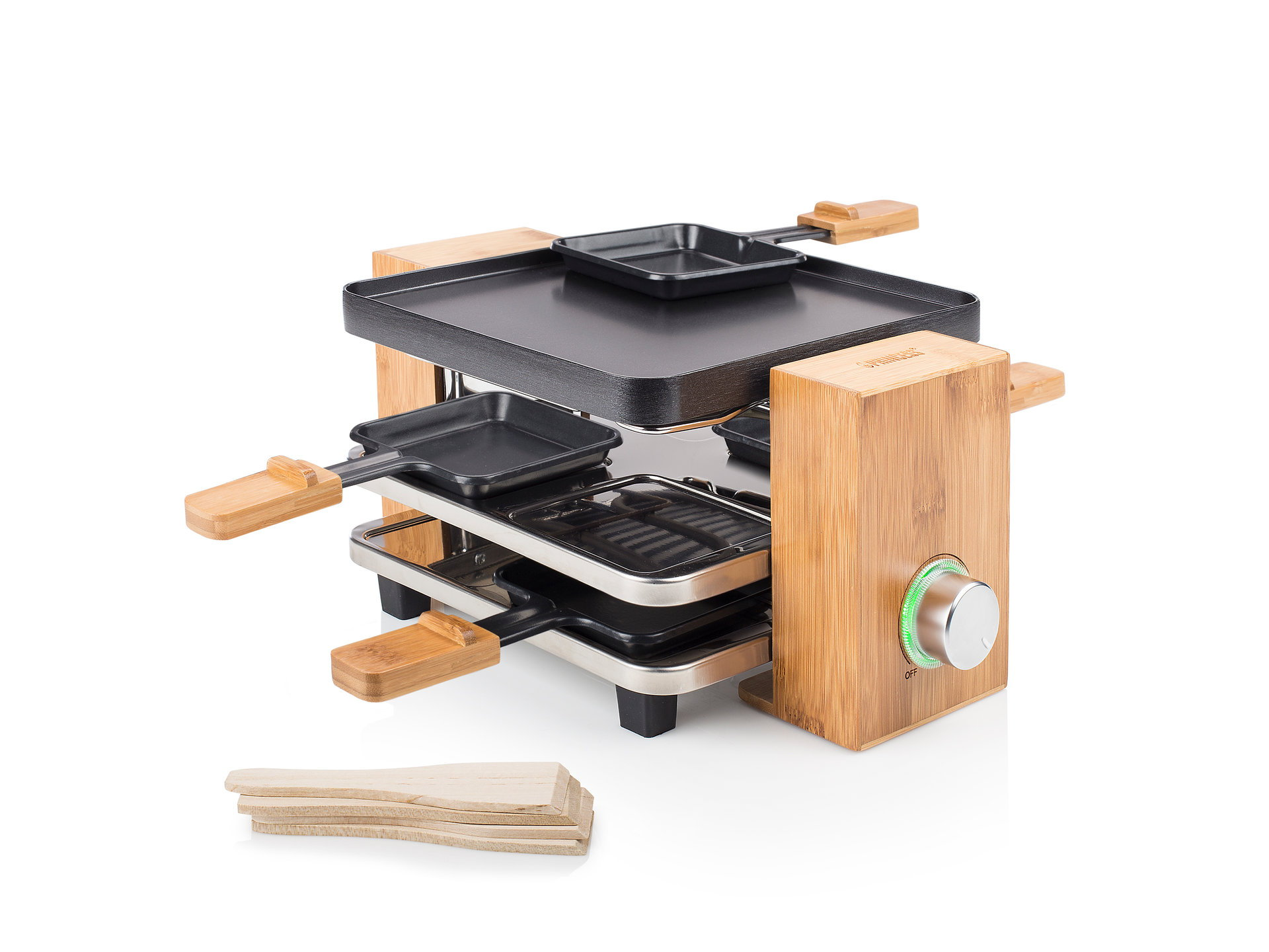 Princess 01.162900.01.001 Raclette Pure 4 Bamboo housing