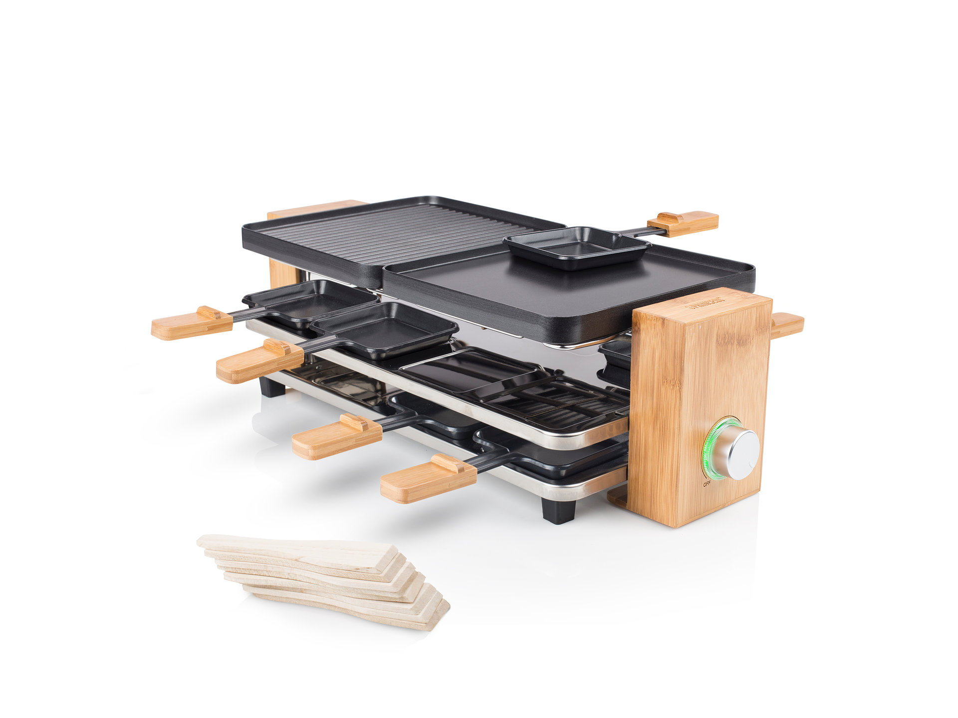Princess 01.162910.01.001 Raclette Pure 8 Bamboo housing