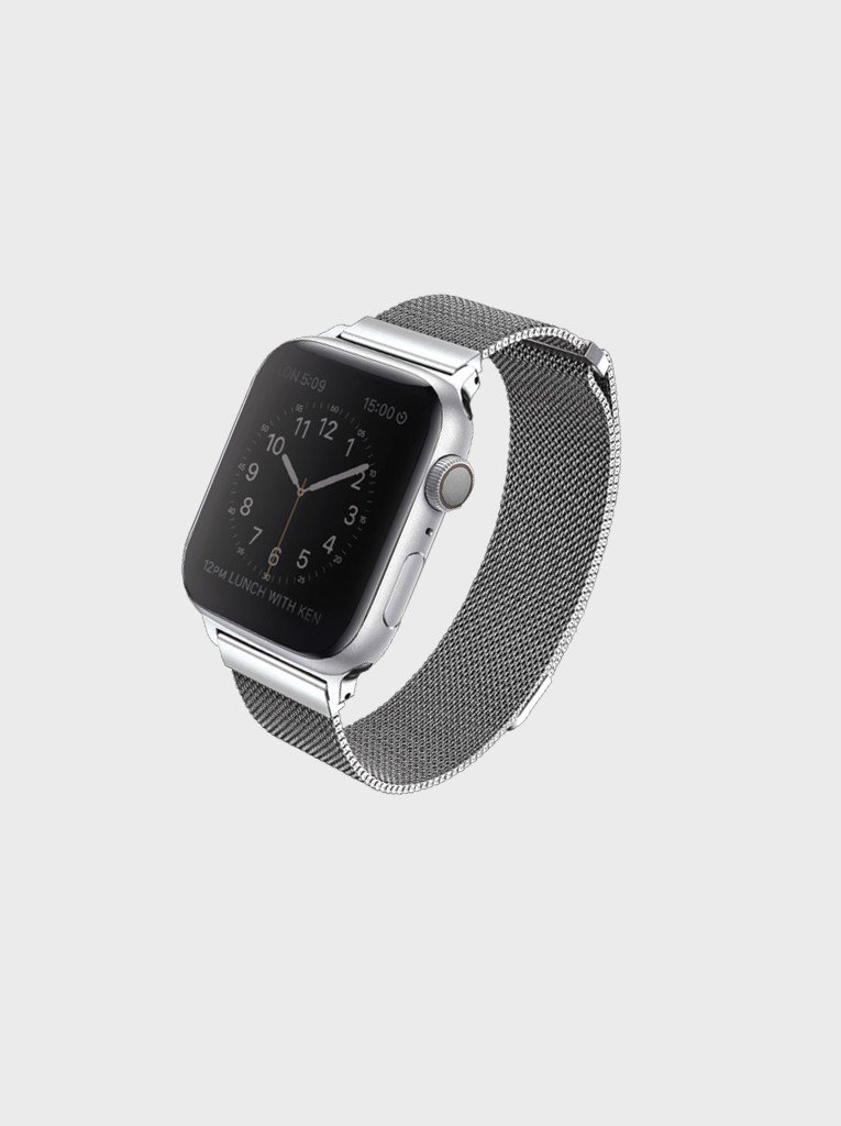 Uniq Dante Apple Watch Series 4 Mesh Ocelový řemínek 44mm Sterling stříbrný